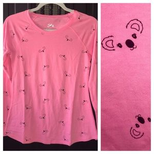 💖🐨Justice long sleeve bright pink top w/koalas🐨